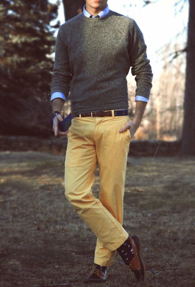 Chino-jaune-pull-chemise-preppy
