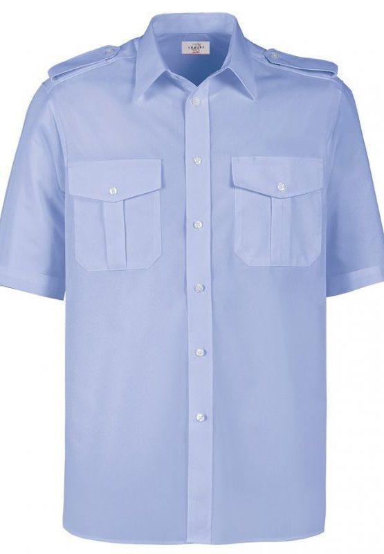 chemise-homme-manche-courte-avec-epaulettes-bleu-ciel