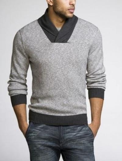 Pull bicolore gris et marron