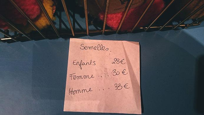 Prix semelles Toasties magasin Sept Cinq