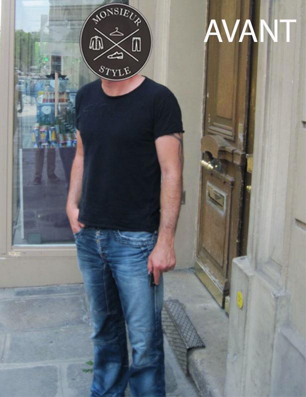 style avant relooking jean délavé-t shirt noir